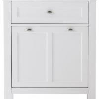 White vanity with doors