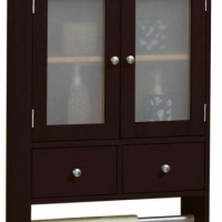 Dark brown wall cabinet with towel rack