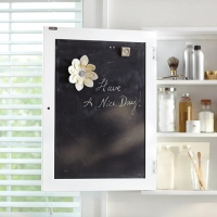 Useful chalkboard on inside of cabinet
