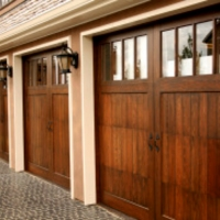 wood and glass carriage doors
