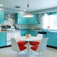 Blue steel kitchen cabinet design