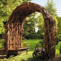Natural arbor with benches