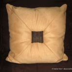 Yellow ultrasuede pillow with fancy covered buttons