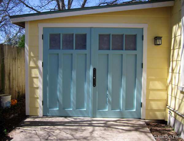 Our new garage doors with new painted trim