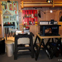 Adding pegboard storage below the shelf