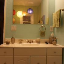 After painting – the sink vanity looks almost tolerable