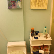 After painting – added white to lighten the too-intense blue from yesterday (S-W Spa Blue)