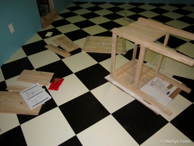 Assembling the tables for under the desk