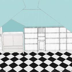 Design of bookshelves for right half of attic