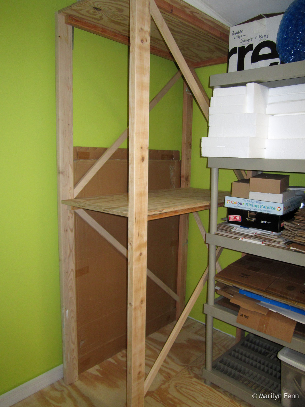 Box storage shelving completed