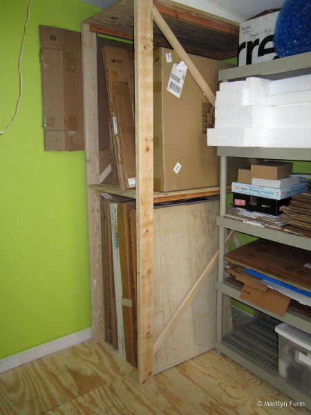 Box storage shelving completed and filled
