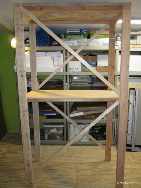 Building the box storage shelving unit - nearly complete