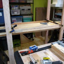 Building the box storage shelving unit – installing  the middle shelf