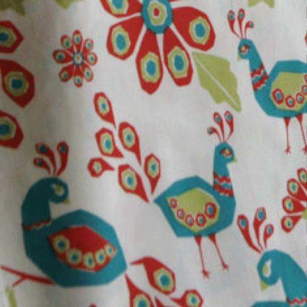 Colorful peacock fabric from Etsy