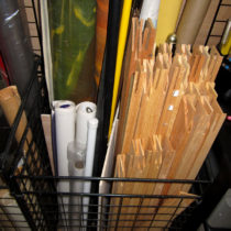Storage for stretcher bars, roles of paper and canvas, rolled paintings, etc.