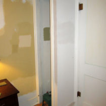 Installed new casing and baseboard on the small closet doorway