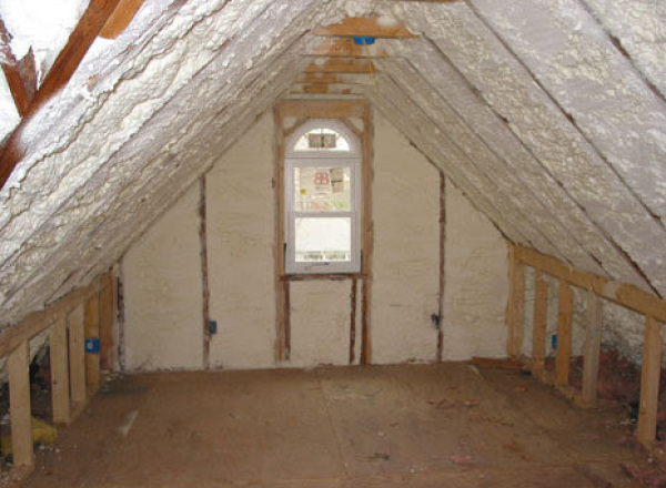 Insulated the walls and under the roof with spray-foam