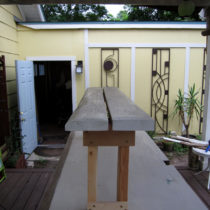 Narrow-stance garden bench