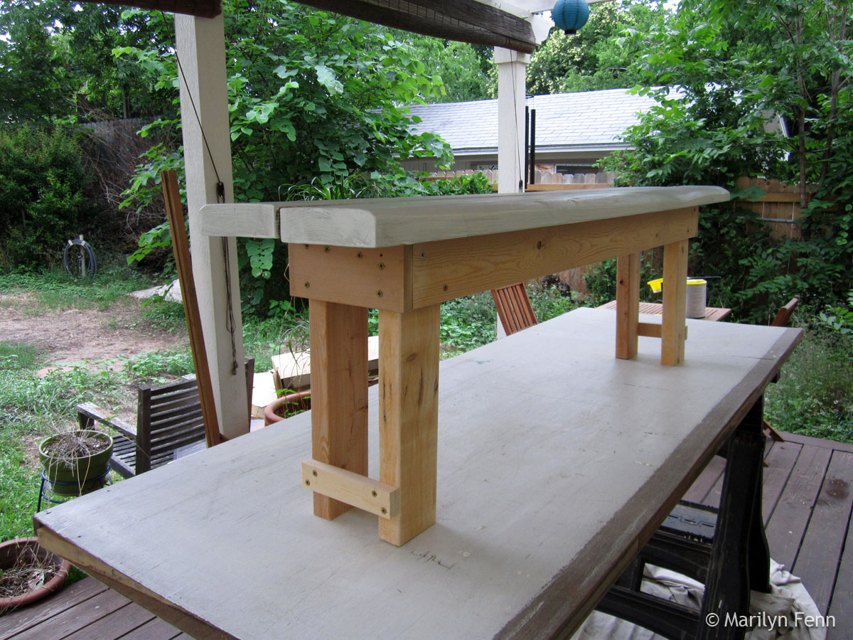 Narrow-stance garden bench - 3/4 view