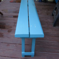 Narrow-stance garden bench, painted