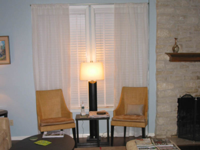 New curtains and side table