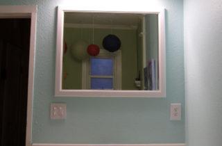New mirror and light fixture – a huge improvement!