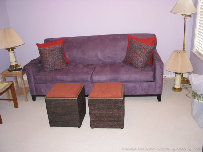 New sleeper sofa with matching pillows and storage cube ottomans