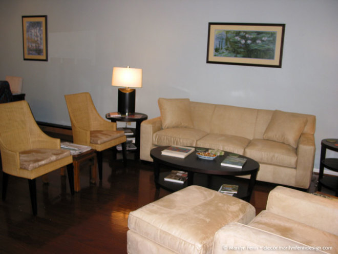 New sofa, chairs, tables and lamps
