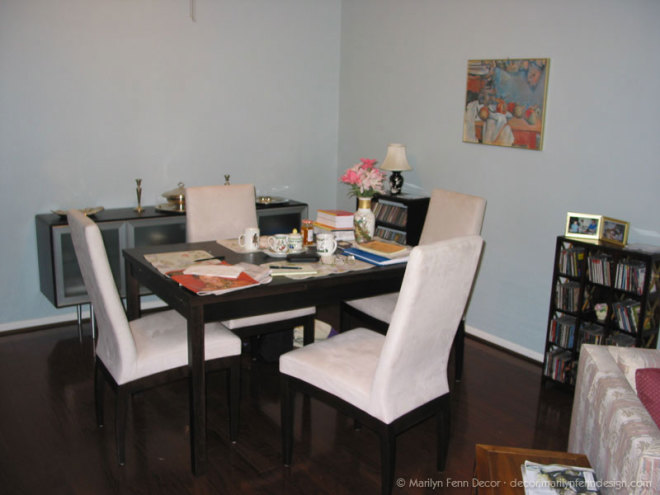 New table, chairs, and credenza with painting added