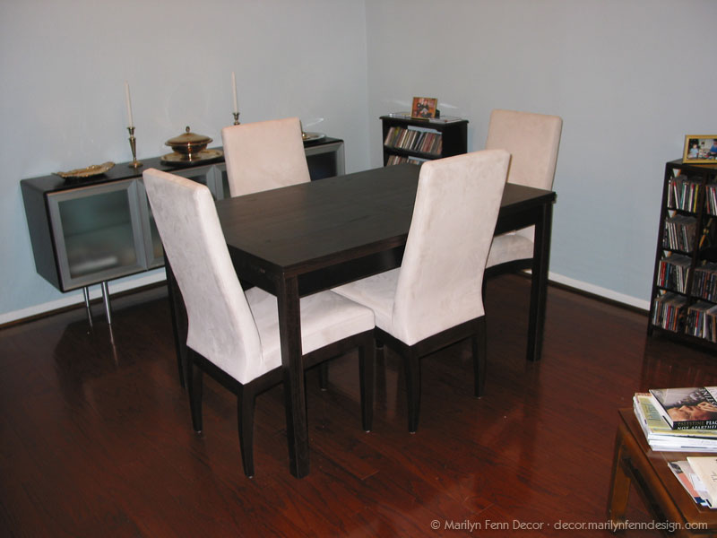 New table, chairs, and credenza
