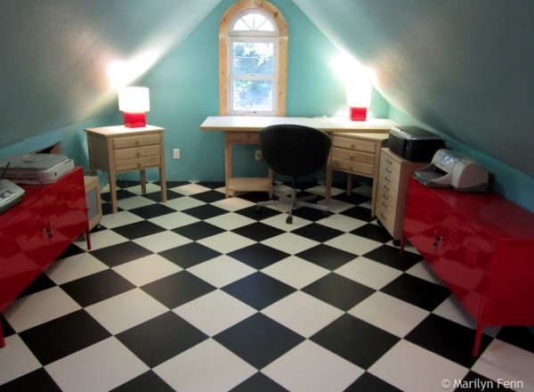 OMG! Red metal cabinets and a chair from Ikea!