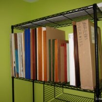 Repurposing wire shelves for painting storage