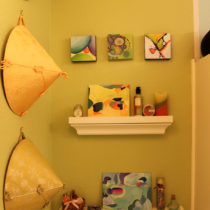 Shelves for small paintings and bath doodads