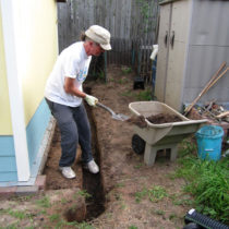 Terry's digging a French drain for me