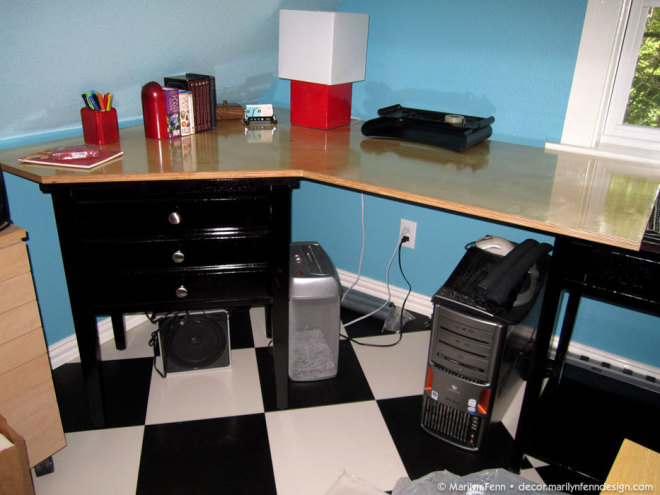 Test fit of one varnished desktop
