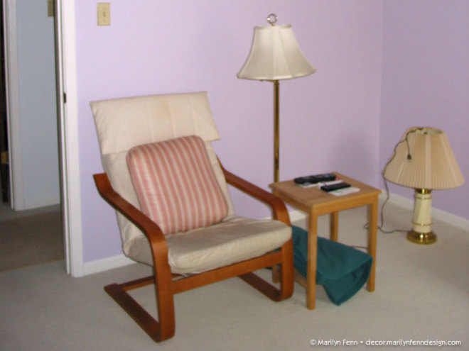 The guest room before - chair, table & lamp
