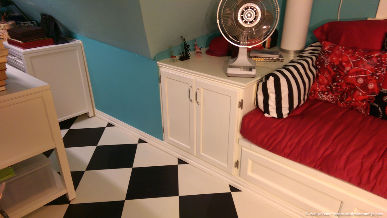 Added baseboard on this section of wall, cabinet and daybed