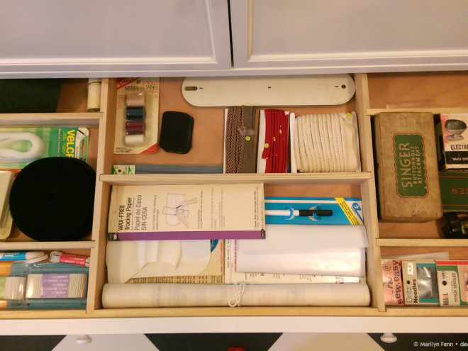 Storage cabinet supplies and tools drawer