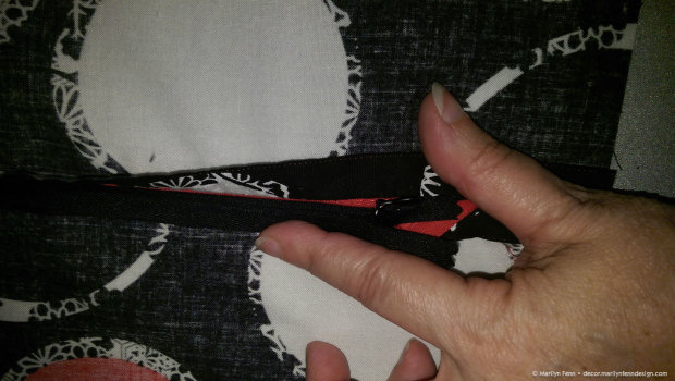 Make sure piping was not caught in zipper stitching