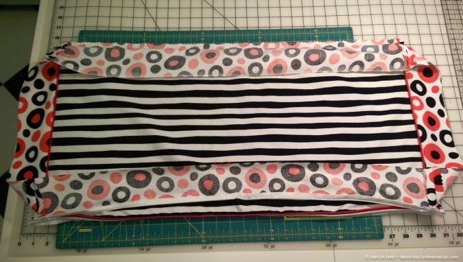 Remember to open the zippers before sewing the final piece on