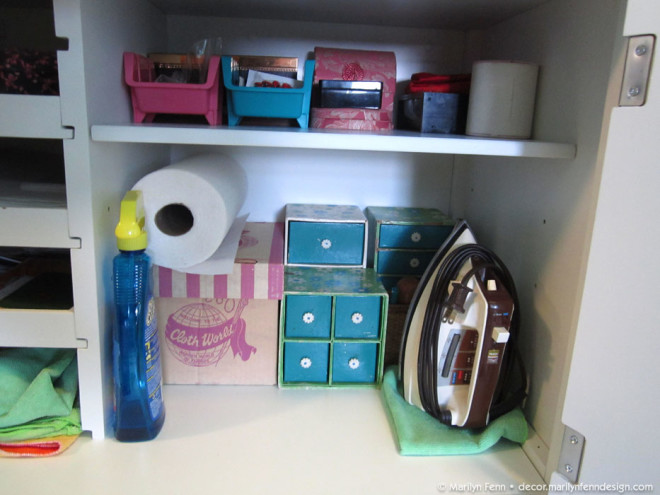 Sewing aid storage and cleaning supplies