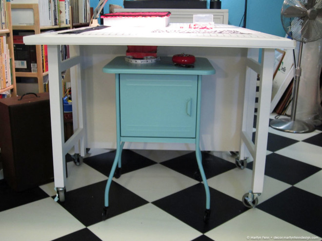 Side table fits under cutting table