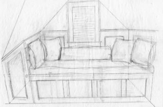 Interior Illustration-Attic Remodel Sketches-Daybed-01