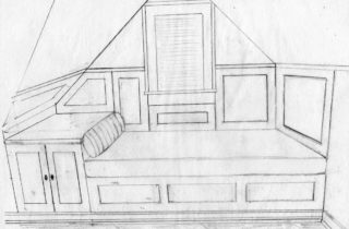 Interior Illustration-Attic Remodel Sketches-Daybed-02