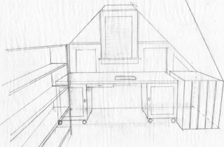 Interior Illustration-Attic Remodel Sketches-Sewing Table-01