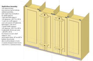 Interior Illustration-Studio Shelving System, base cabinet unit with doors