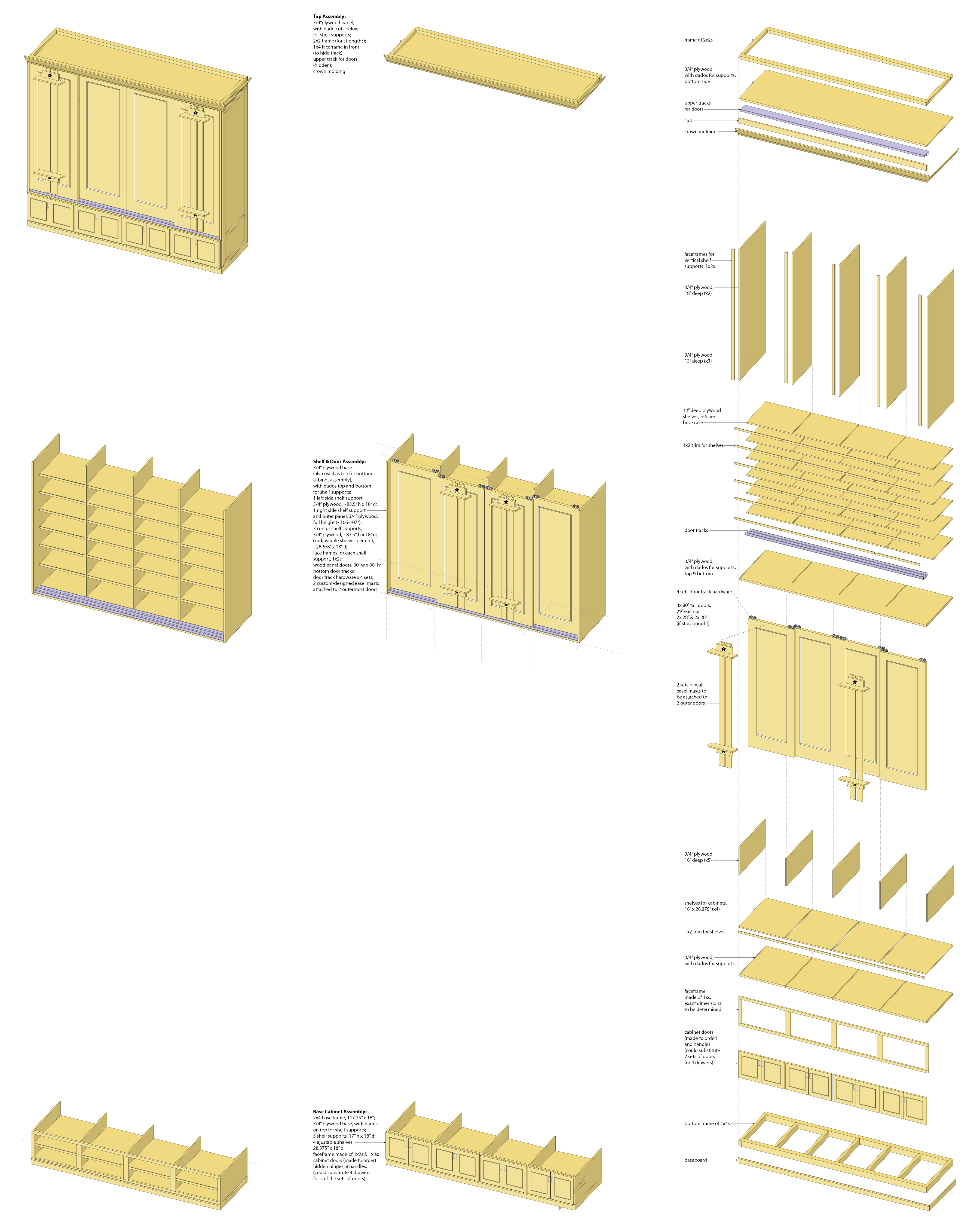 Interior Illustration-Studio Shelving System, base cabinet unit-sub-assemblies