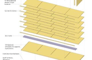 Interior Illustration-Studio Shelving System, bookshelves unit-exploded view