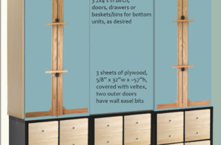 Interior Illustration-Studio shelf units-Kallax brown-and-birch
