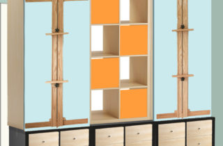 Interior Illustration-Studio shelf units-Kallax brown and birch